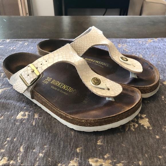 Birkenstock Gizeh Cream Shiny Snake Thong Sandals
